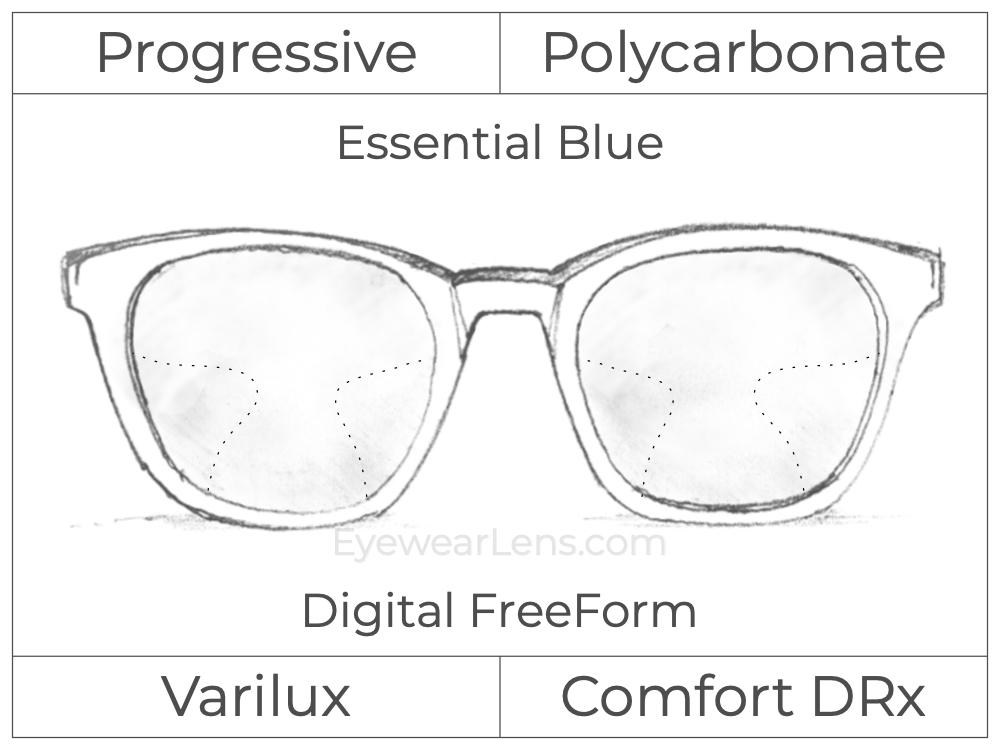 Progressive - Varilux - Comfort DRx - Digital FreeForm - Polycarbonate - Essential Blue Series