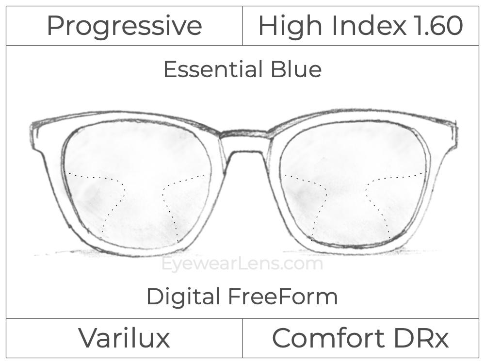 Progressive - Varilux - Comfort DRx - Digital FreeForm - High Index 1.60 - Essential Blue Series