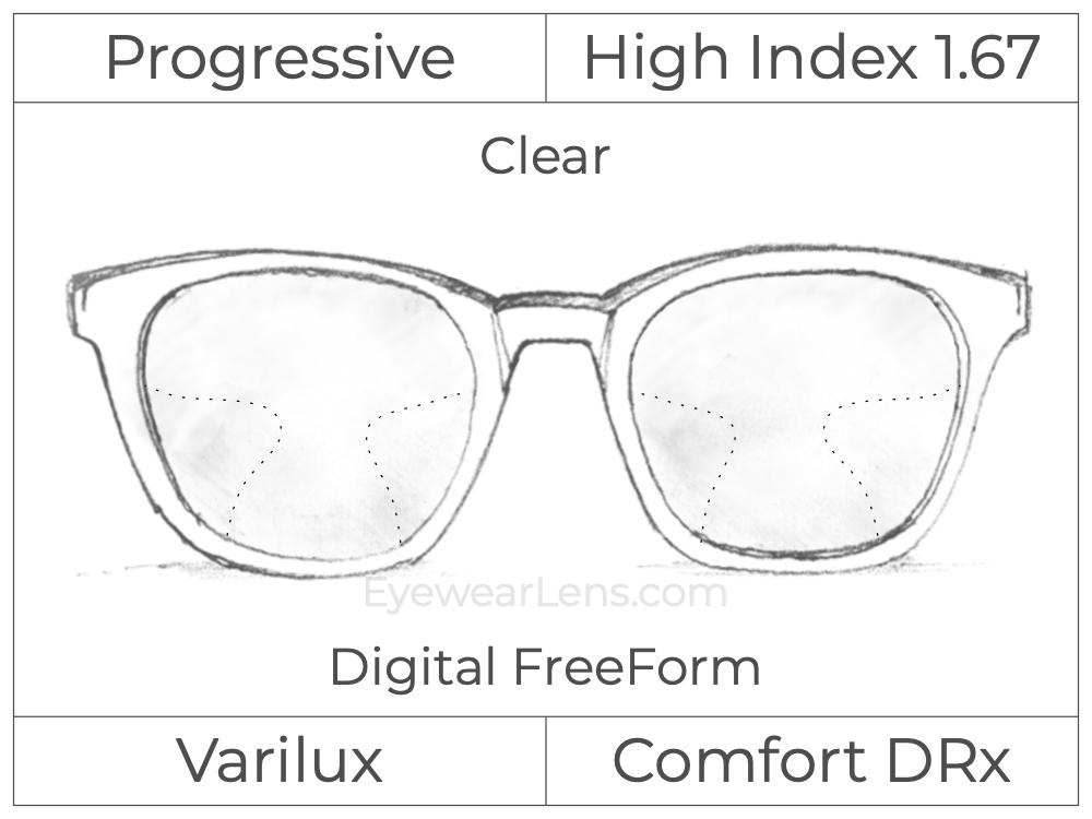 Progressive - Varilux - Comfort DRx - Digital FreeForm - High Index 1.67 - Clear