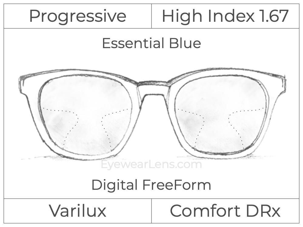 Progressive - Varilux - Comfort DRx - Digital FreeForm - High Index 1.67 - Essential Blue Series