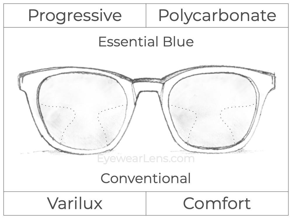 Progressive - Varilux - Comfort - Polycarbonate - Essential Blue Series