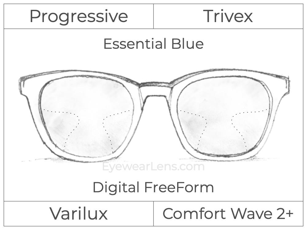 Progressive - Varilux - Comfort Wave 2 - Digital FreeForm - Trivex - Essential Blue Series