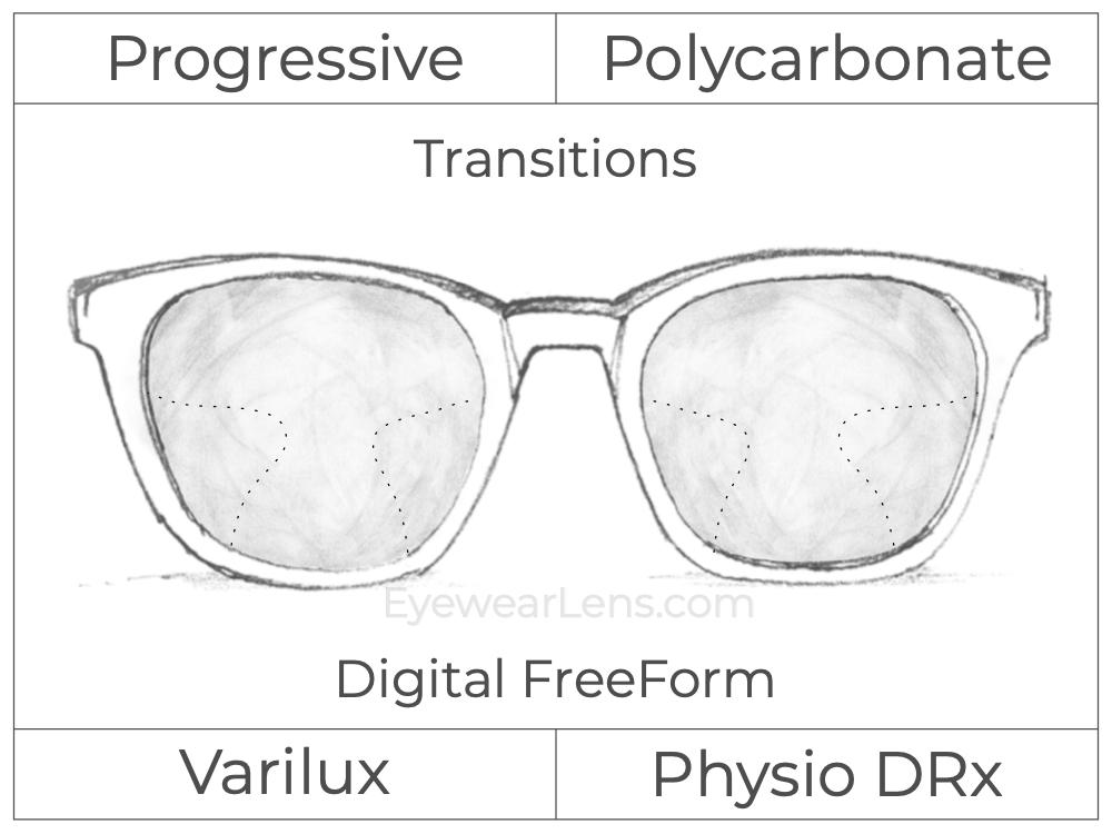 Progressive - Varilux - Physio DRx - Digital FreeForm - Polycarbonate - Transitions Signature