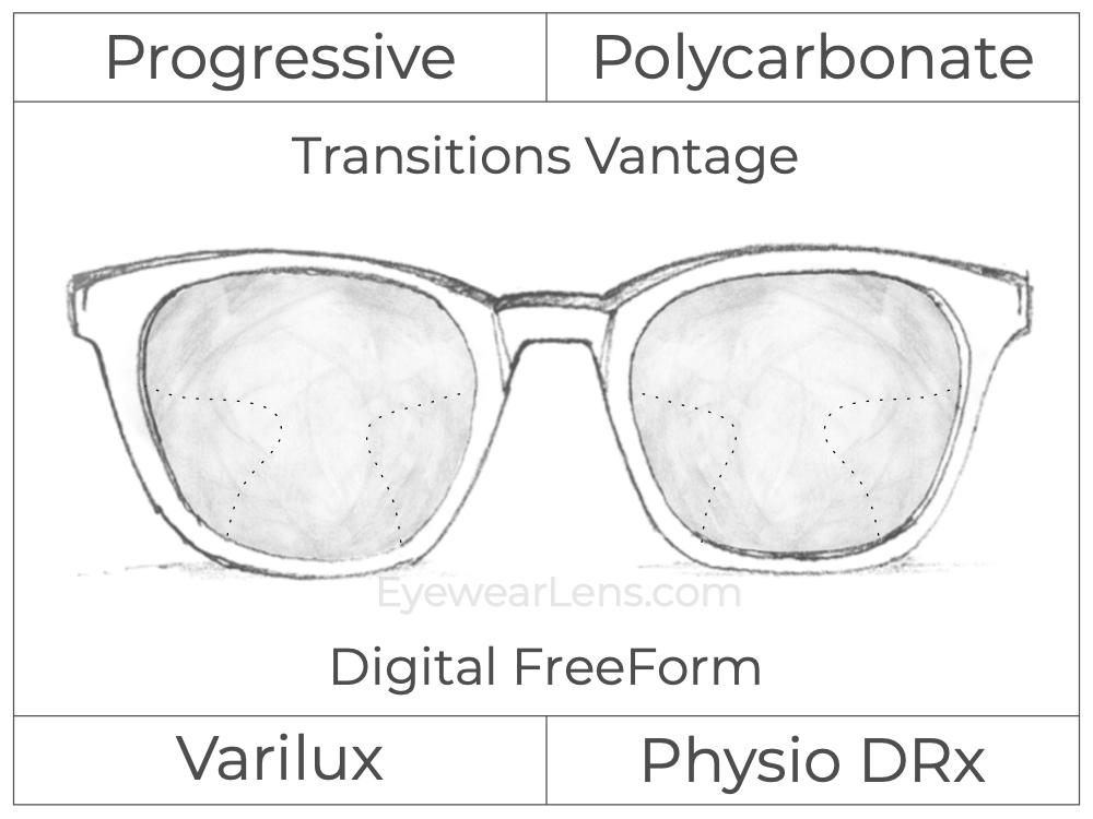 Progressive - Varilux - Physio DRx - Digital FreeForm - Polycarbonate - Transitions Vantage
