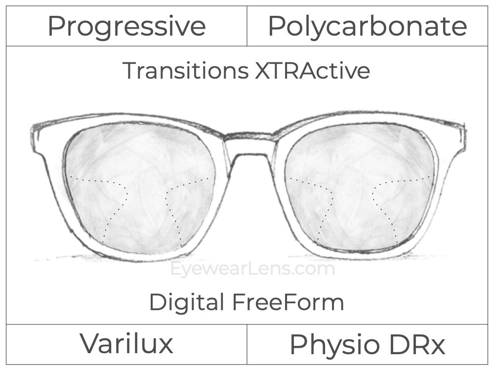 Progressive - Varilux - Physio DRx - Digital FreeForm - Polycarbonate - Transitions XTRActive