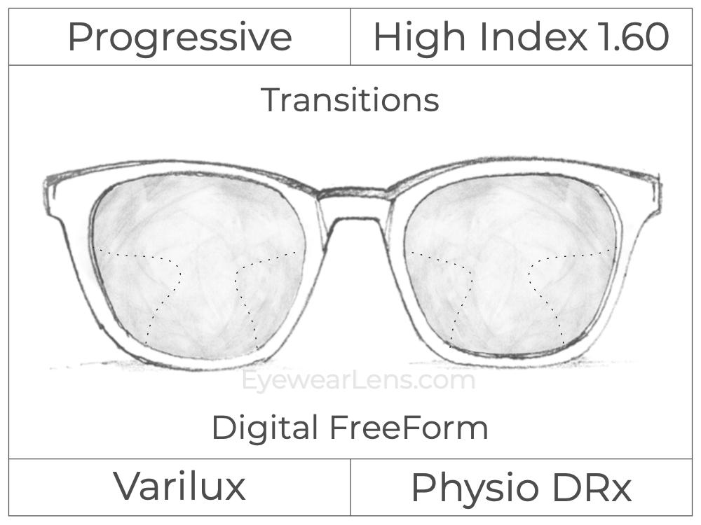 Progressive - Varilux - Physio DRx - Digital FreeForm - High Index 1.60 - Transitions Signature
