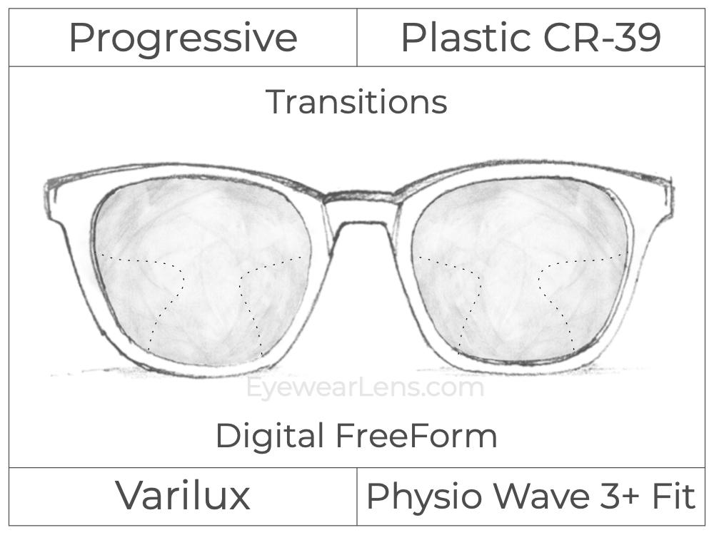 Progressive - Varilux - Physio Wave 3 Fit - Digital FreeForm - Plastic - Transitions Signature
