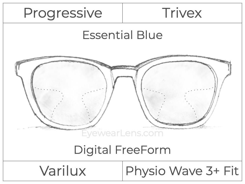 Progressive - Varilux - Physio Wave 3 Fit - Digital FreeForm - Trivex - Essential Blue Series
