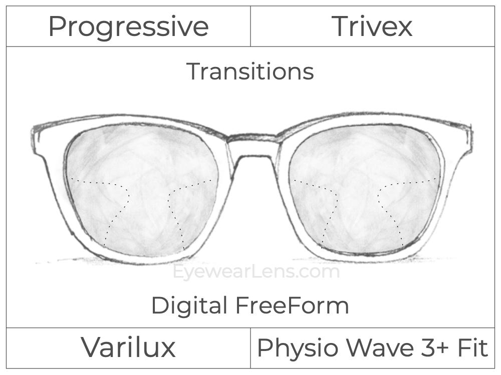 Progressive - Varilux - Physio Wave 3 Fit - Digital FreeForm - Trivex - Transitions Signature