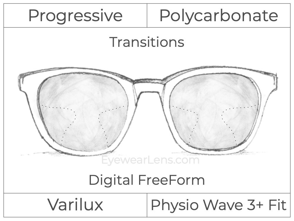 Progressive - Varilux - Physio Wave 3 Fit - Digital FreeForm - Polycarbonate - Transitions Signature