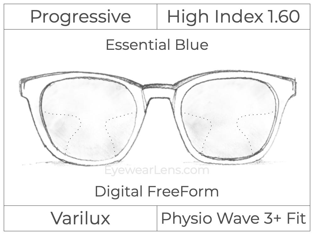 Progressive - Varilux - Physio Wave 3 Fit - Digital FreeForm - High Index 1.60 - Essential Blue Series