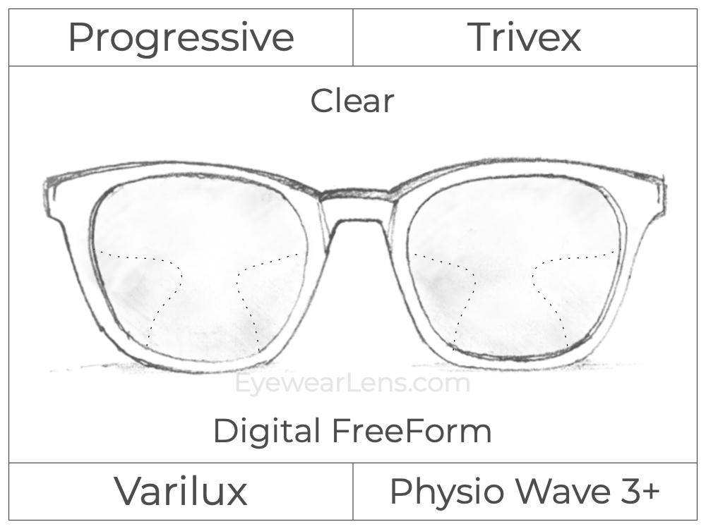 Progressive - Varilux - Physio Wave 3 - Digital FreeForm - Trivex - Clear