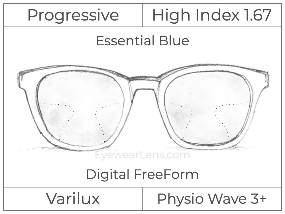 Progressive - Varilux - Physio Wave 3 - Digital FreeForm - High Index 1.67 - Essential Blue Series