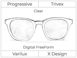 Progressive - Varilux - X Design - Digital FreeForm - Trivex - Clear