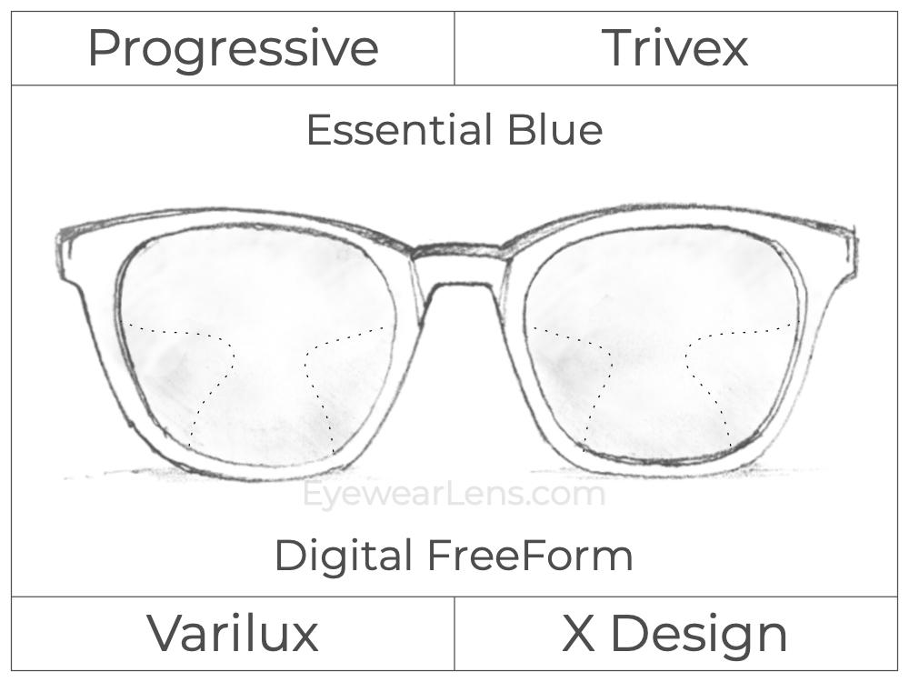 Progressive - Varilux - X Design - Digital FreeForm - Trivex - Essential Blue Series