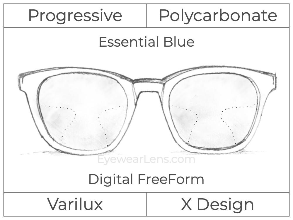 Progressive - Varilux - X Design - Digital FreeForm - Polycarbonate - Essential Blue Series