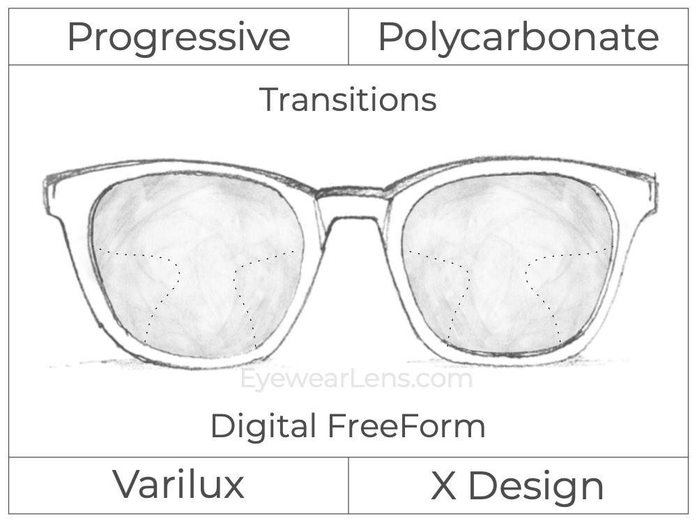 Progressive - Varilux - X Design - Digital FreeForm - Polycarbonate - Transitions Signature