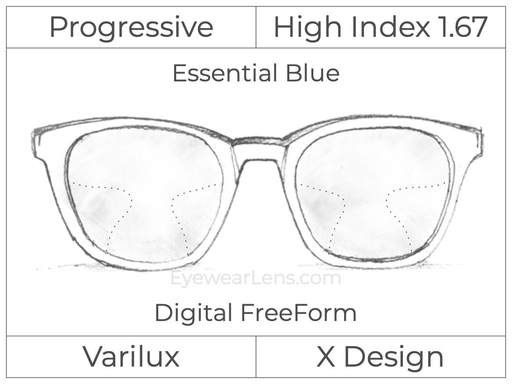 Progressive - Varilux - X Design - Digital FreeForm - High Index 1.67 - Essential Blue Series