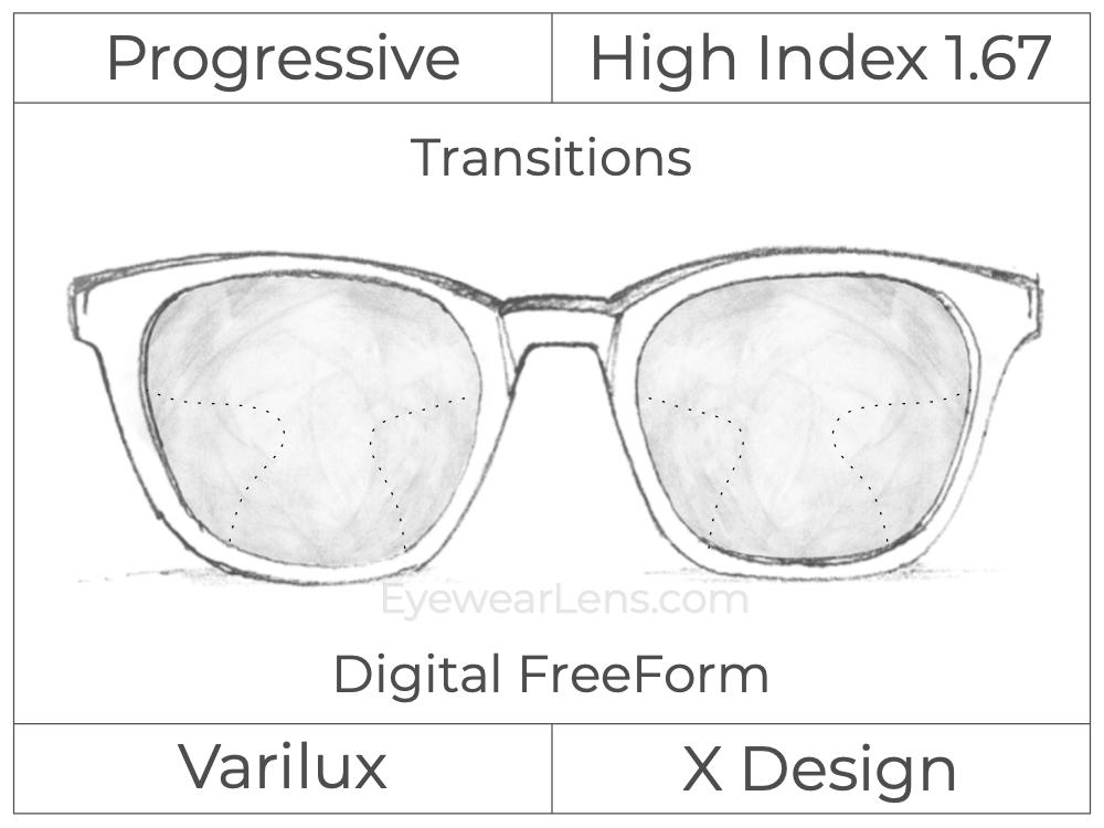 Progressive - Varilux - X Design - Digital FreeForm - High Index 1.67 - Transitions Signature