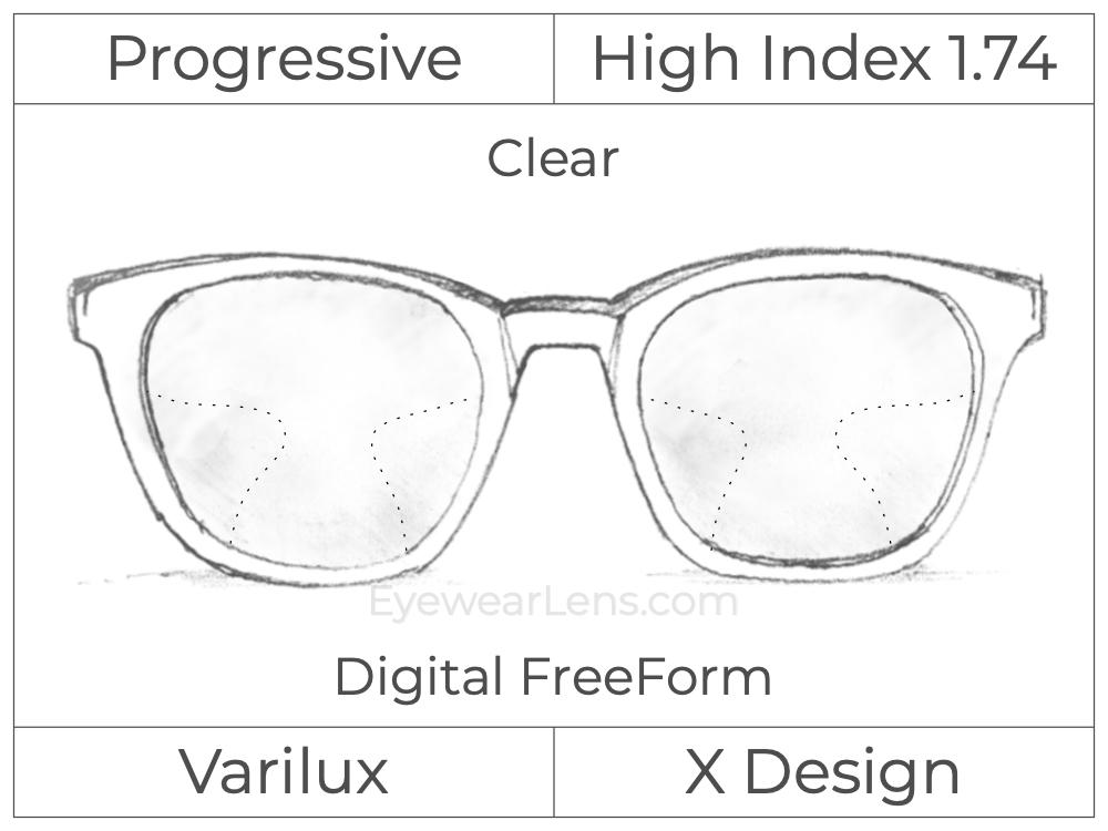 Progressive - Varilux - X Design - Digital FreeForm - High Index 1.74 - Clear