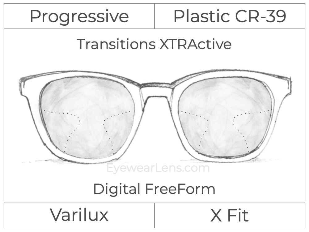 Progressive - Varilux - X Fit - Digital FreeForm - Plastic - Transitions XTRActive