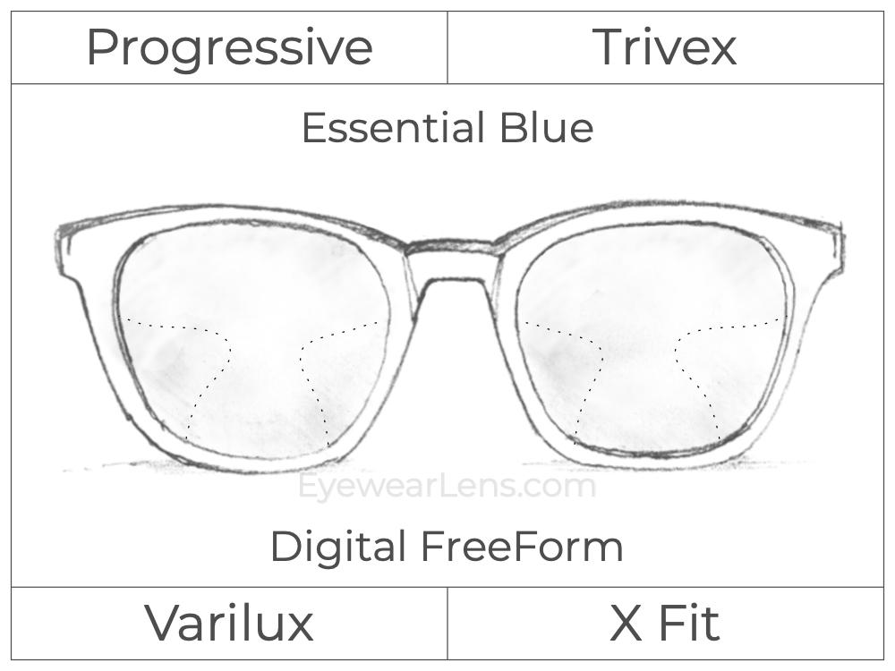 Progressive - Varilux - X Fit - Digital FreeForm - Trivex - Essential Blue Series
