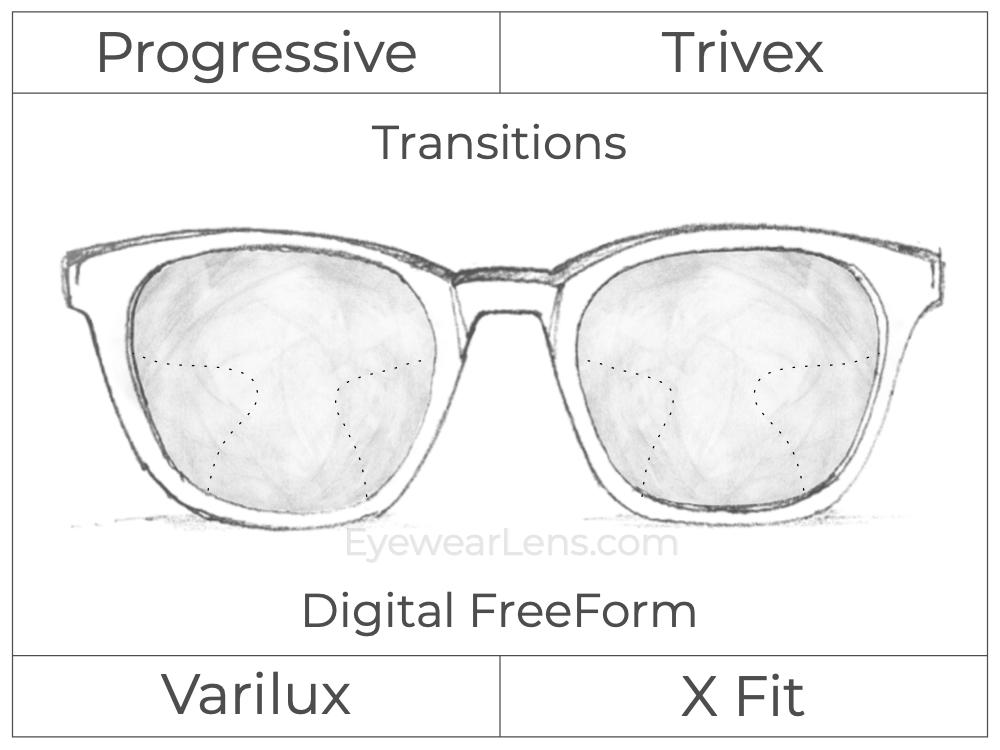 Progressive - Varilux - X Fit - Digital FreeForm - Trivex - Transitions Signature