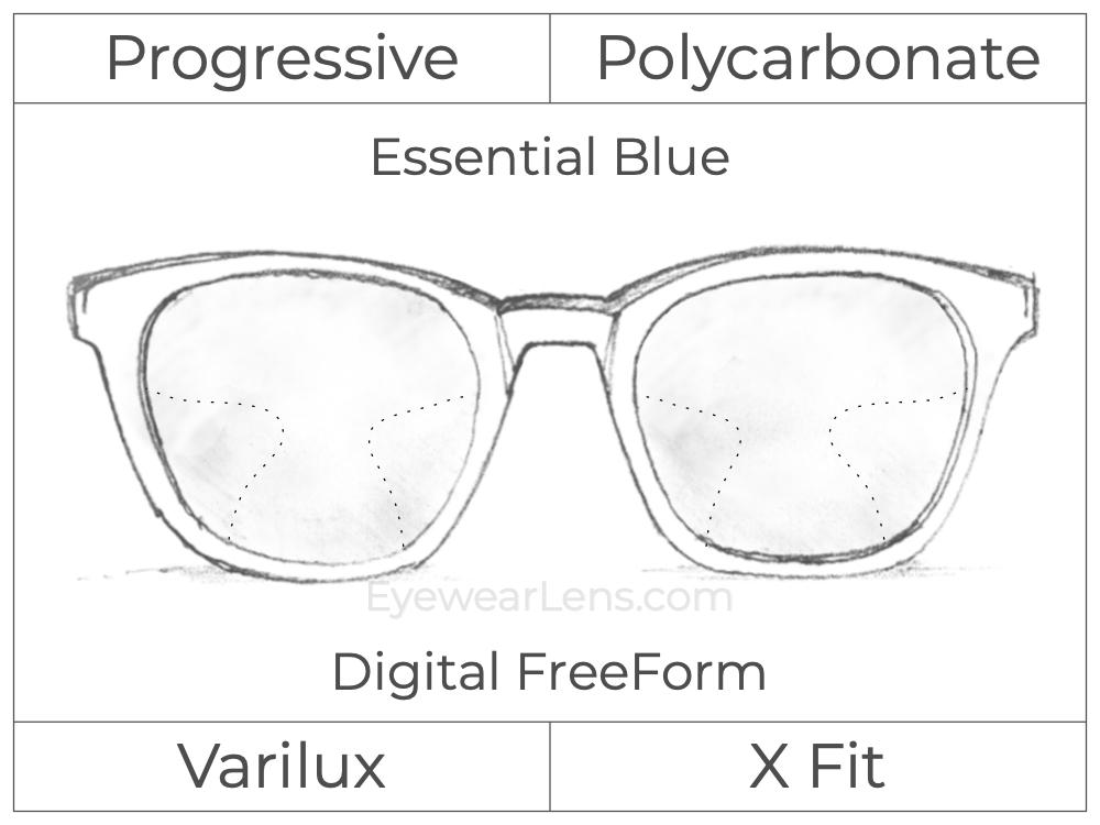 Progressive - Varilux - X Fit - Digital FreeForm - Polycarbonate - Essential Blue Series