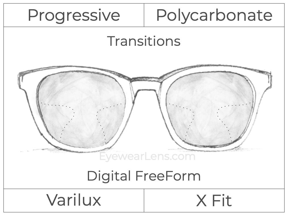Progressive - Varilux - X Fit - Digital FreeForm - Polycarbonate - Transitions Signature