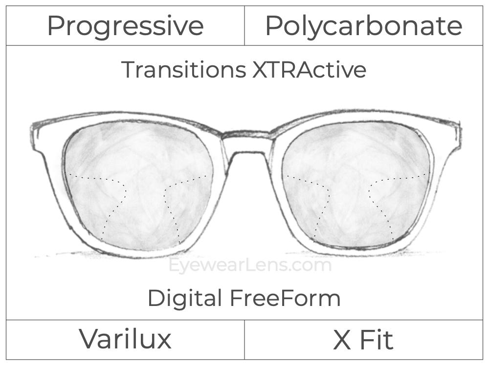Progressive - Varilux - X Fit - Digital FreeForm - Polycarbonate - Transitions XTRActive