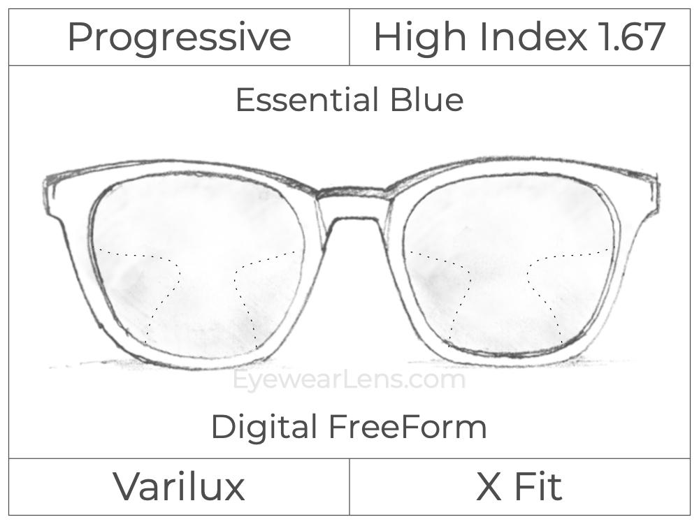 Progressive - Varilux - X Fit - Digital FreeForm - High Index 1.67 - Essential Blue Series