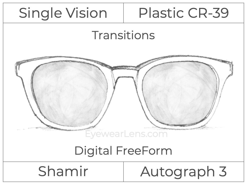 Single Vision - Plastic - Shamir Autograph 3 - Digital FreeForm - Transitions Signature - Aspheric