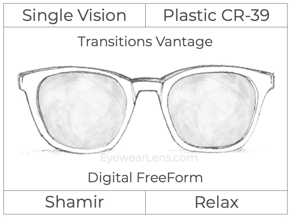 Single Vision - Plastic - Shamir Relax - Digital FreeForm - Transitions Vantage - Aspheric