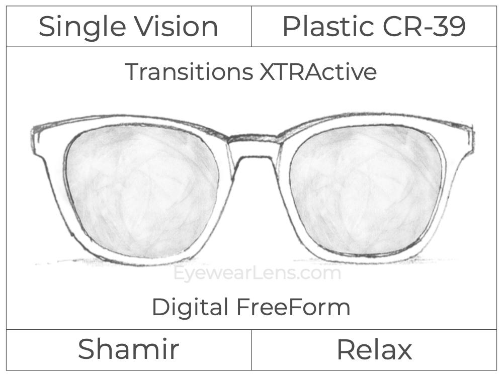 Single Vision - Plastic - Shamir Relax - Digital FreeForm - Transitions XTRActive - Aspheric