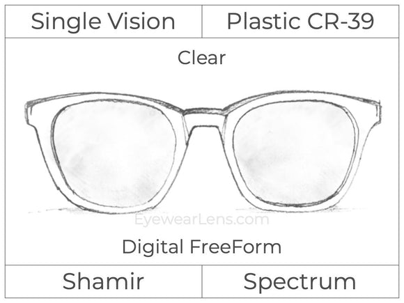 Single Vision - Plastic - Shamir Spectrum - Digital FreeForm - Clear - Aspheric
