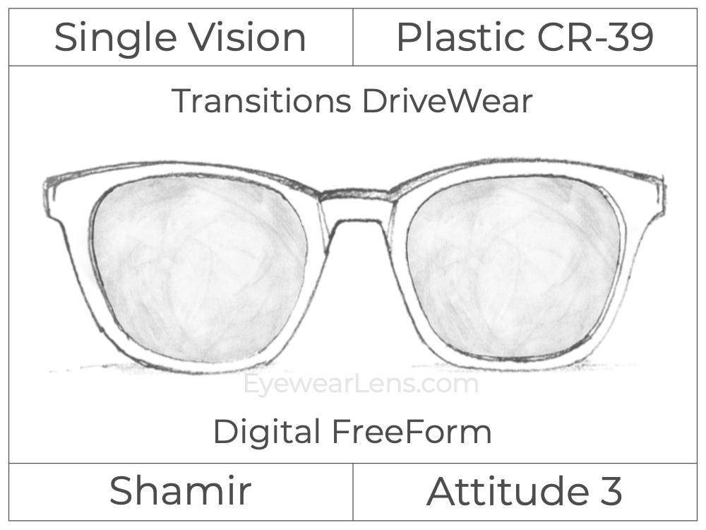 Single Vision - Plastic - Shamir Attitude 3 - Digital FreeForm - Transitions DriveWear - Aspheric