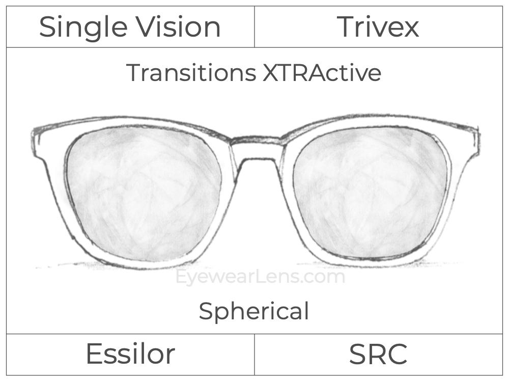 Single Vision - Trivex - Transitions XTRActive - Spherical