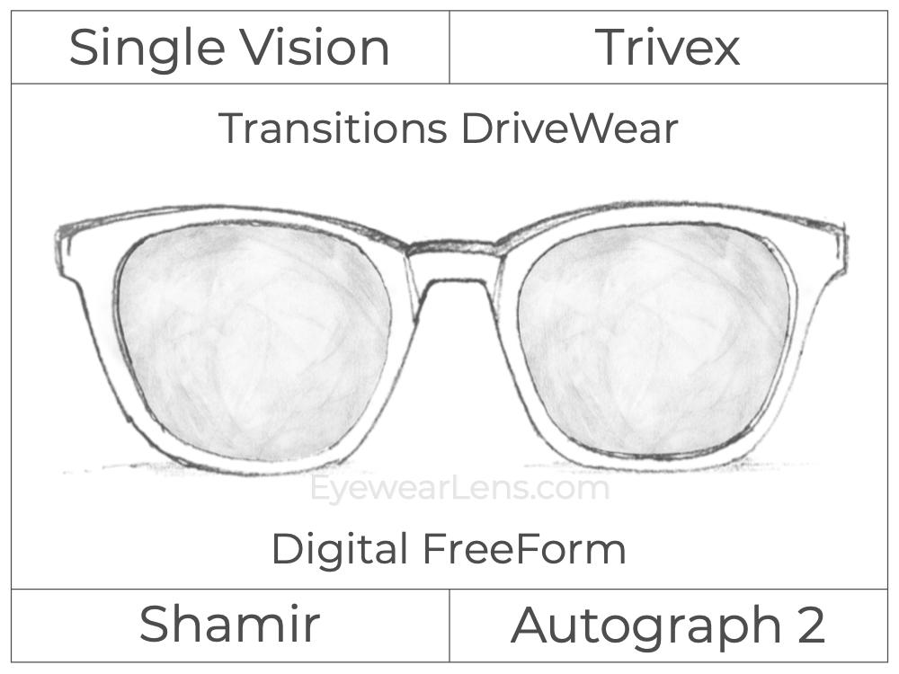 Single Vision - Trivex - Shamir Autograph 2 - Digital FreeForm - Transitions DriveWear - Aspheric