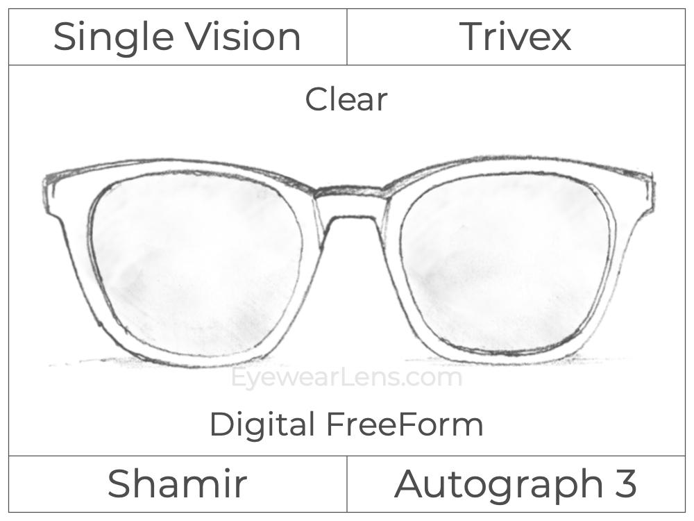 Single Vision - Trivex - Shamir Autograph 3 - Digital FreeForm - Clear - Aspheric