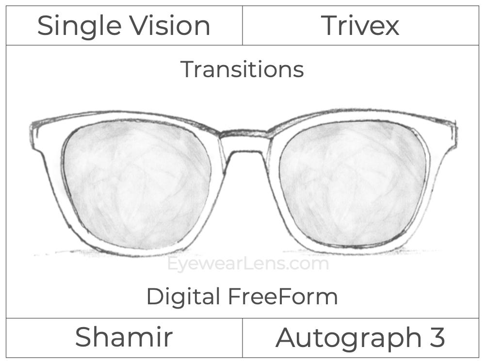 Single Vision - Trivex - Shamir Autograph 3 - Digital FreeForm - Transitions Signature - Aspheric