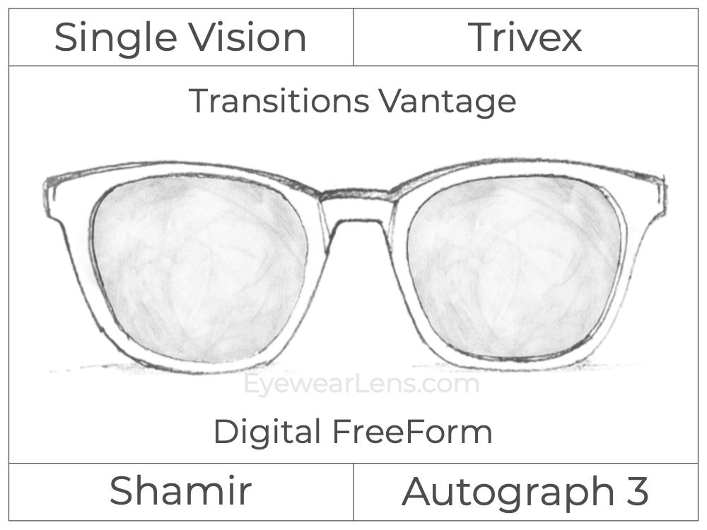 Single Vision - Trivex - Shamir Autograph 3 - Digital FreeForm - Transitions Vantage - Aspheric