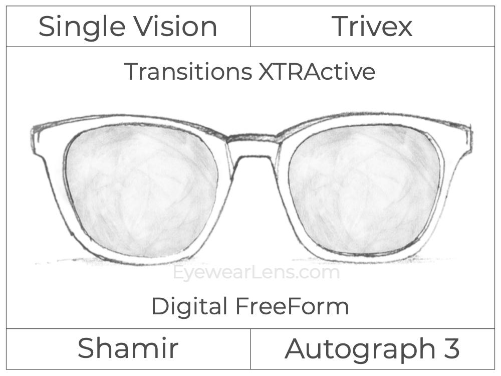 Single Vision - Trivex - Shamir Autograph 3 - Digital FreeForm - Transitions XTRActive - Aspheric