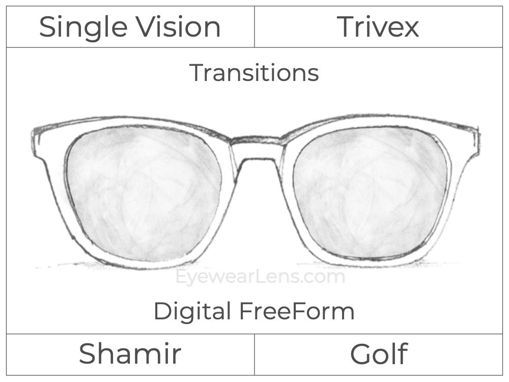 Single Vision - Trivex - Shamir Golf - Digital FreeForm - Transitions Signature - Spherical