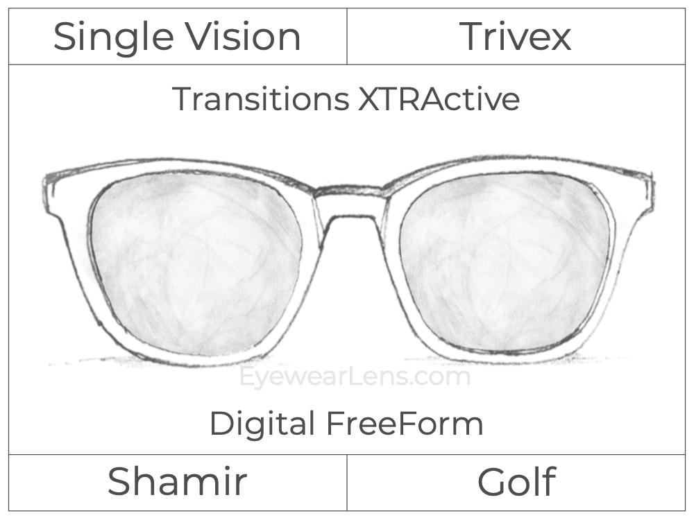 Single Vision - Trivex - Shamir Golf - Digital FreeForm - Transitions XTRActive - Spherical