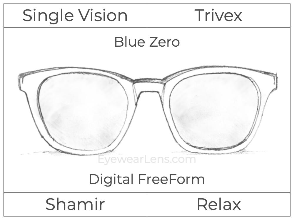 Single Vision - Trivex - Shamir Relax - Digital FreeForm - Blue Zero - Aspheric