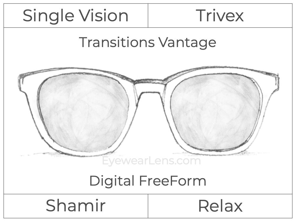 Single Vision - Trivex - Shamir Relax - Digital FreeForm - Transitions Vantage - Aspheric