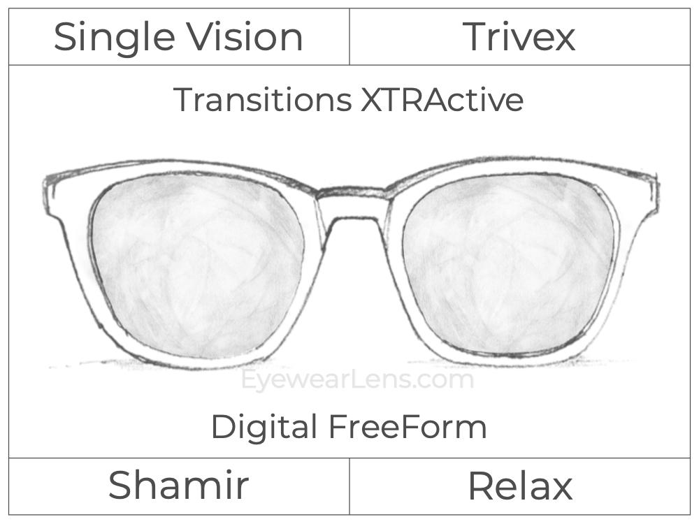 Single Vision - Trivex - Shamir Relax - Digital FreeForm - Transitions XTRActive - Aspheric