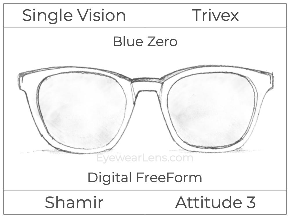 Single Vision - Trivex - Shamir Attitude 3 - Digital FreeForm - Blue Zero - Aspheric