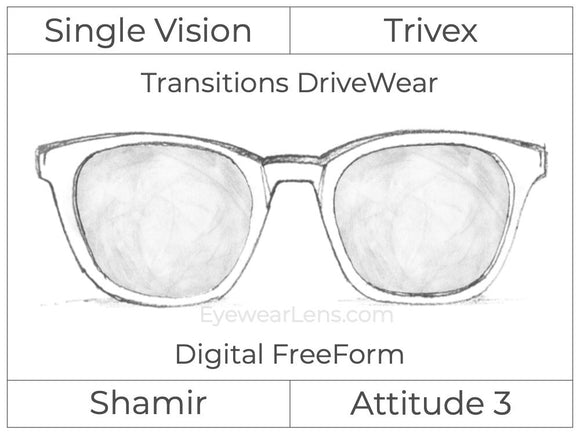 Single Vision - Trivex - Shamir Attitude 3 - Digital FreeForm - Transitions DriveWear - Aspheric