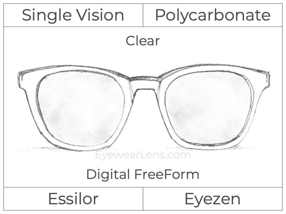 Single Vision - Polycarbonate - Essilor Eyezen - Digital FreeForm - Clear - Spherical
